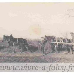 Morchain - Paysan avec ses chevaux et son tombereau